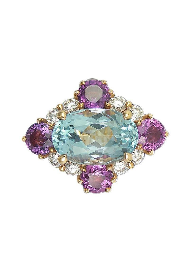 Round Cut Art Deco Style Aquamarine Violet Sapphire and Diamond Cluster Ring For Sale