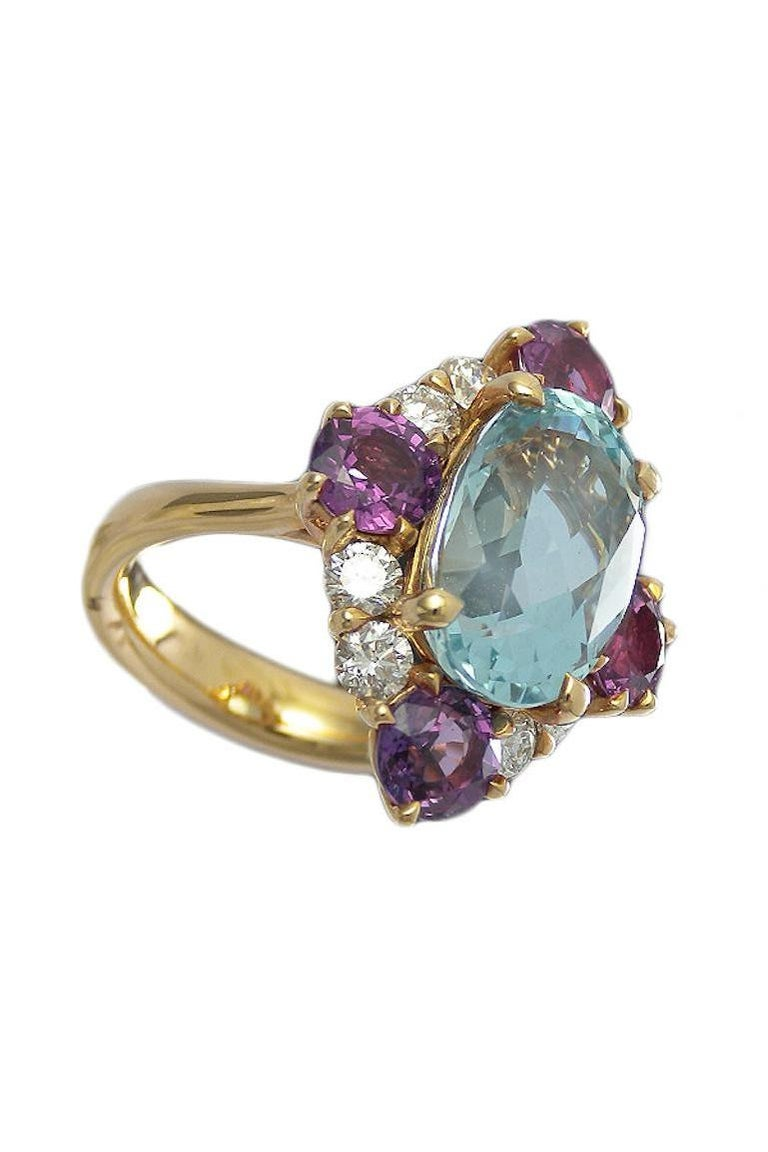 Women's Art Deco Style Aquamarine Violet Sapphire and Diamond Cluster Ring For Sale
