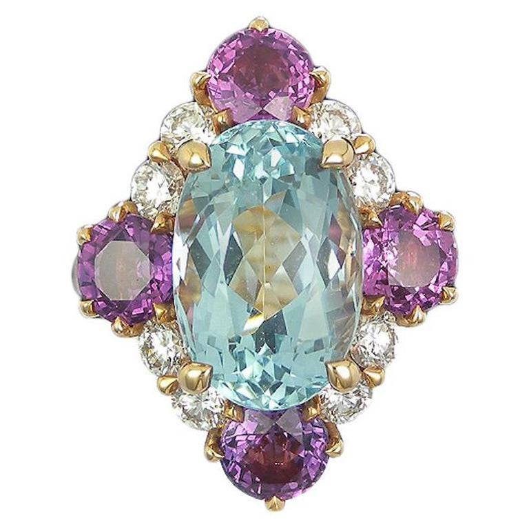 Art Deco Style Aquamarine Violet Sapphire and Diamond Cluster Ring For Sale