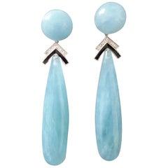 Art Deco Style Aquamarine White Gold Diamonds Black Enamel Plain Drop Earrings