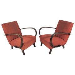 Art Deco Style Armchairs by Jindřich Halabala, circa 1950s, Set of 2