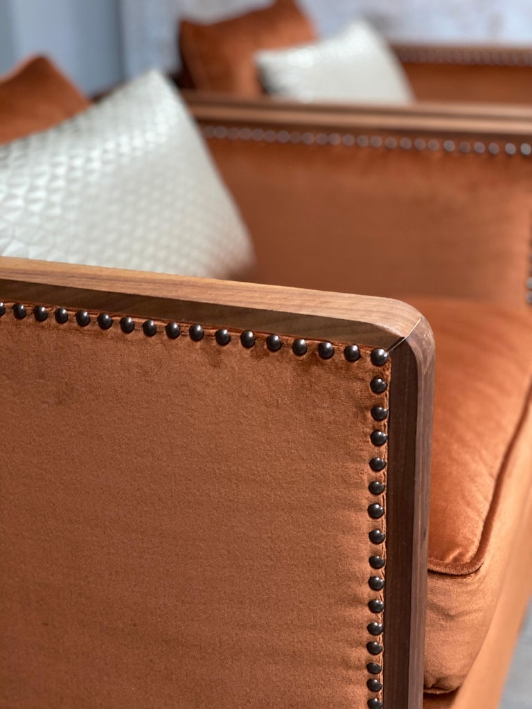 Art Deco Style Bacco Armchair in Natural Walnut & Velvet Dedar - Showroom items For Sale 4