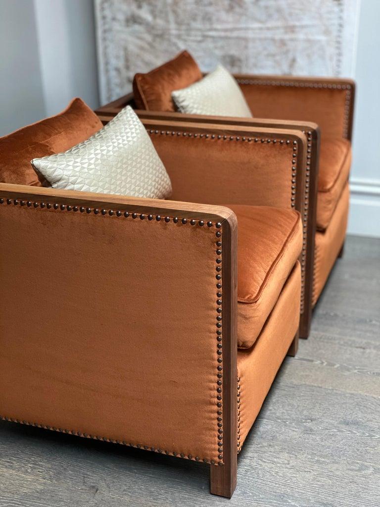 Art Deco Style Bacco Armchair in Natural Walnut & Velvet Dedar - Showroom items For Sale 5