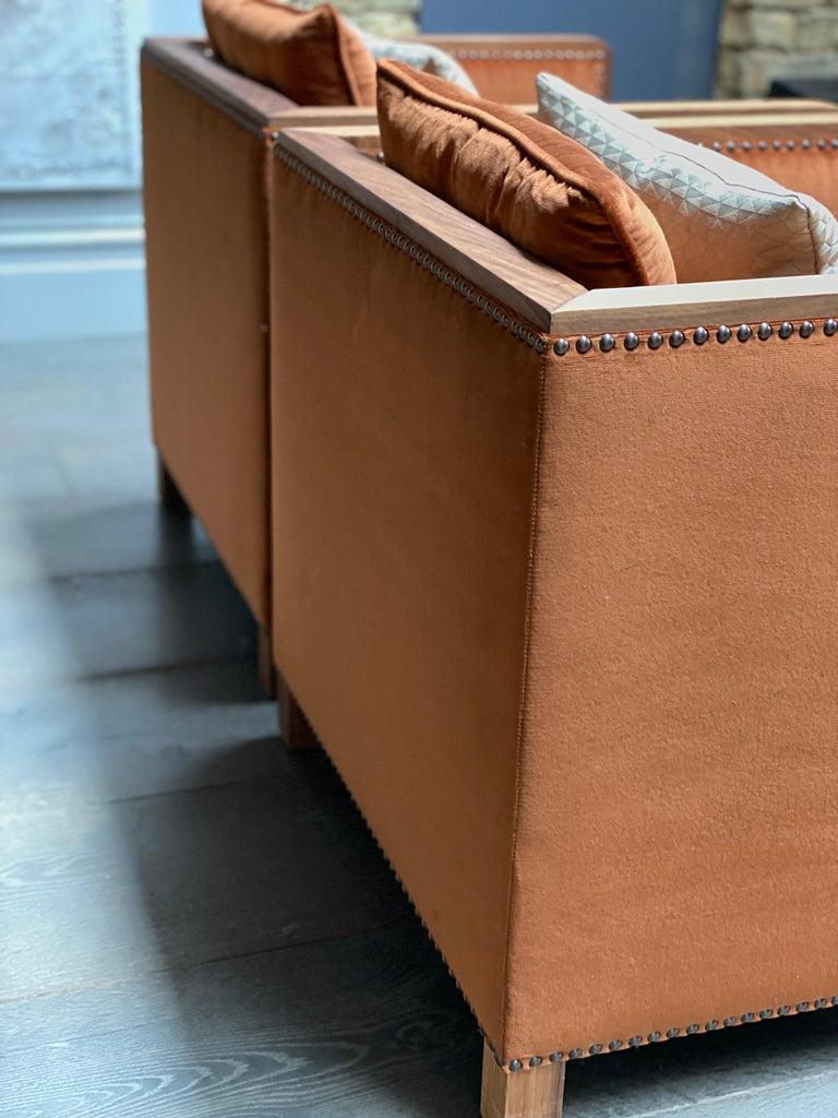 Woodwork Art Deco Style Bacco Armchair in Natural Walnut & Velvet Dedar - Showroom items For Sale