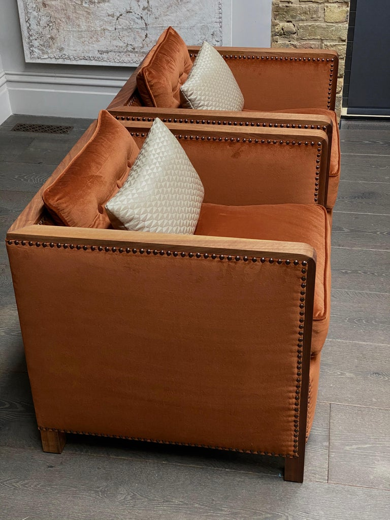 Art Deco Style Bacco Armchair in Natural Walnut & Velvet Dedar - Showroom items In Excellent Condition For Sale In London, GB