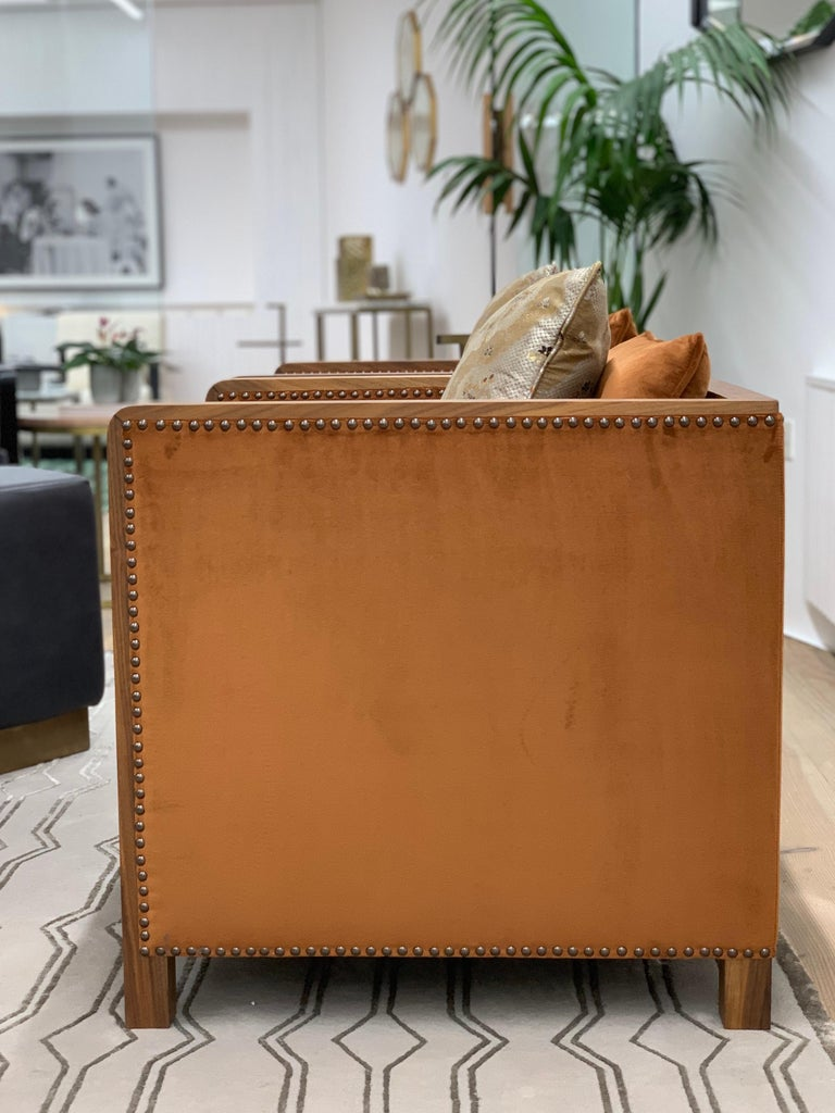 Art Deco Style Bacco Armchair in Natural Walnut & Velvet Dedar - Showroom items For Sale 2