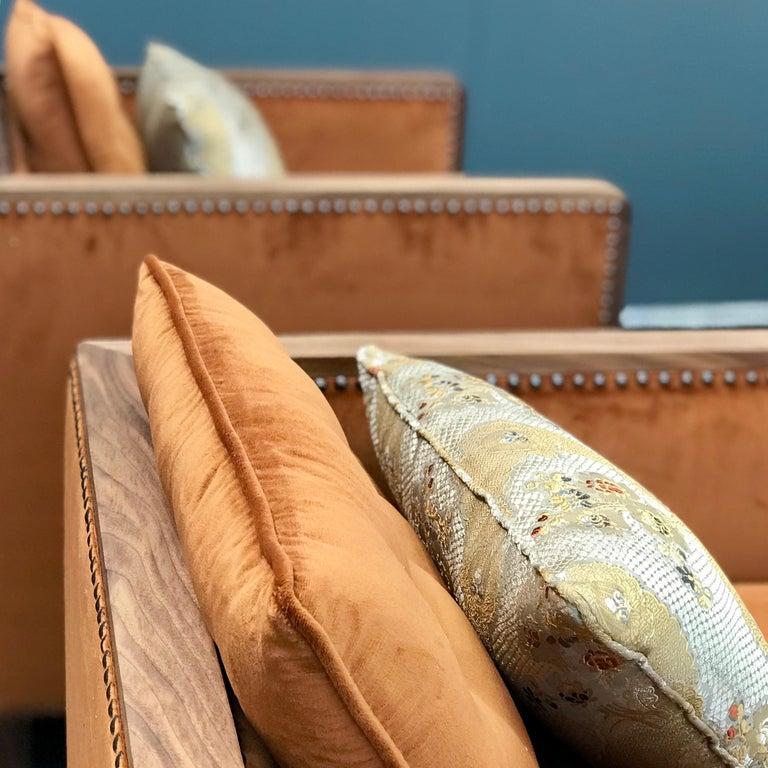 Art Deco Style Bacco Armchair in Natural Walnut & Velvet Dedar - Showroom items For Sale 3