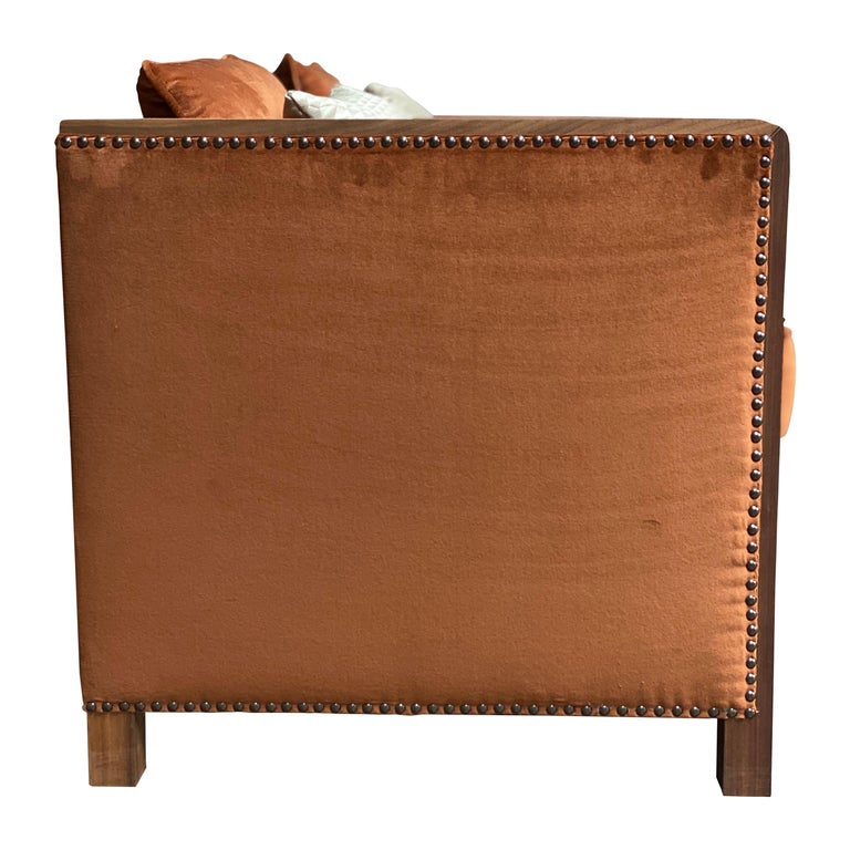Art Deco Style Bacco Armchair in Natural Walnut & Velvet Dedar - Showroom items For Sale