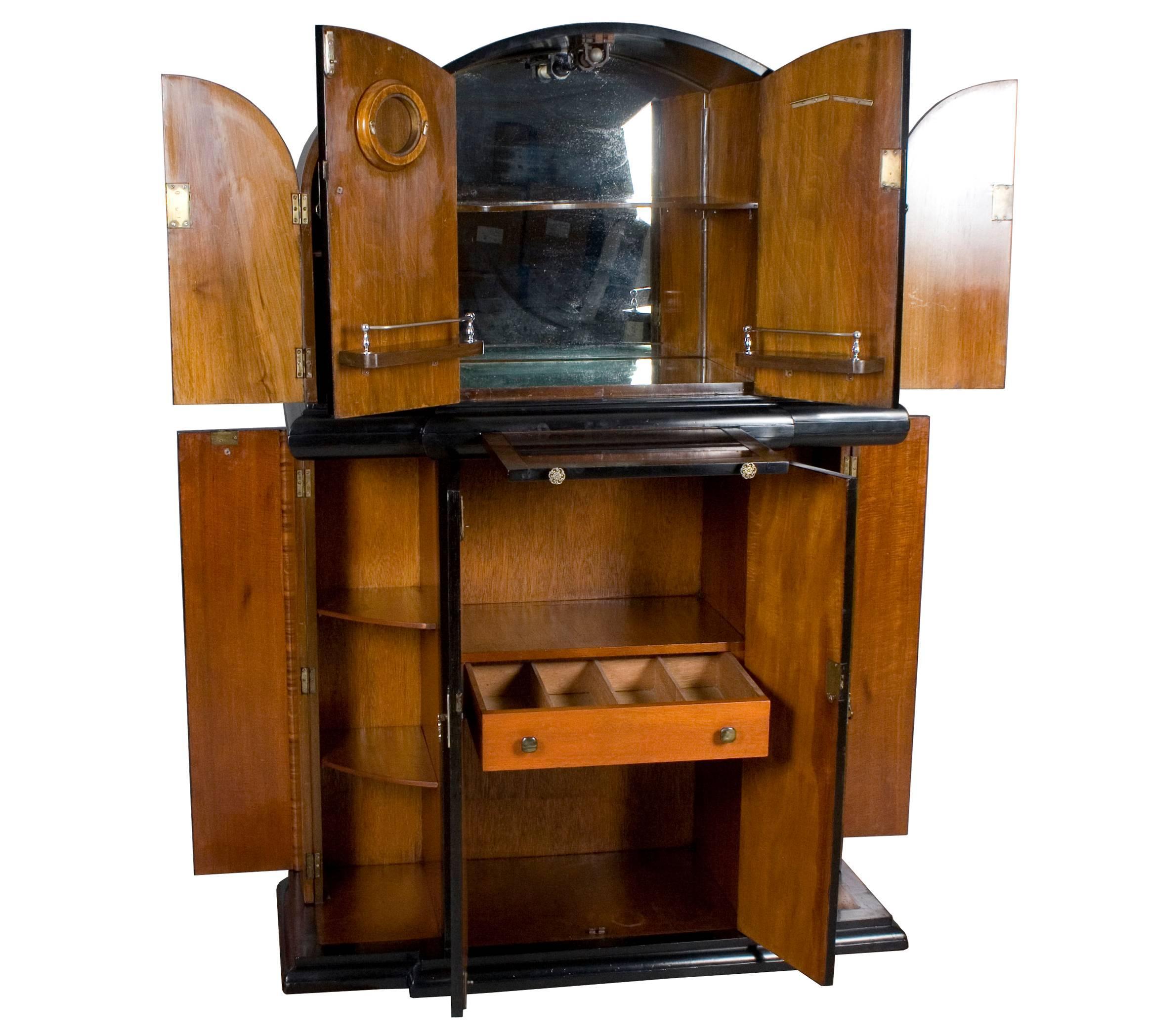 Mid 20th Century Art Deco Style Bar Liquor Cabinet For Sale