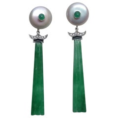 Art Deco Style Baroque Pearls Emeralds Gold Diamonds Enamels Jade Drop Earrings