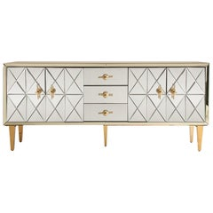Art Deco Style Beveled Mirrored and Brass Sideboard