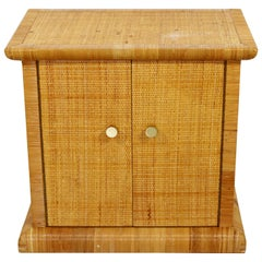Art Deco Style Bielecky Bros Cane Rattan and Brass Cabinet Side End Table, 1990s