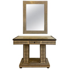 Art Deco Style Black and White Console Table and Mirror in Diamond Pattern
