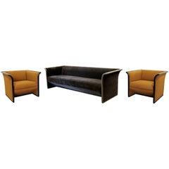 Art Deco Style Black & Brown Mohair Sofa & Pair of Chairs Ward Bennett Brickell