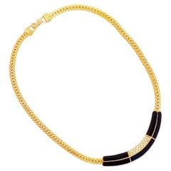 Art Deco Style Black Enamel, Crystal & Flat Chain Necklace By Swarovski, 1980s