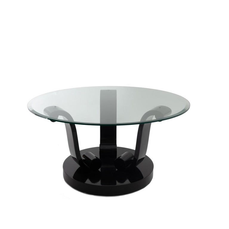 Unknown Art Deco Style Black Lacquer Base Coctail Table For Sale
