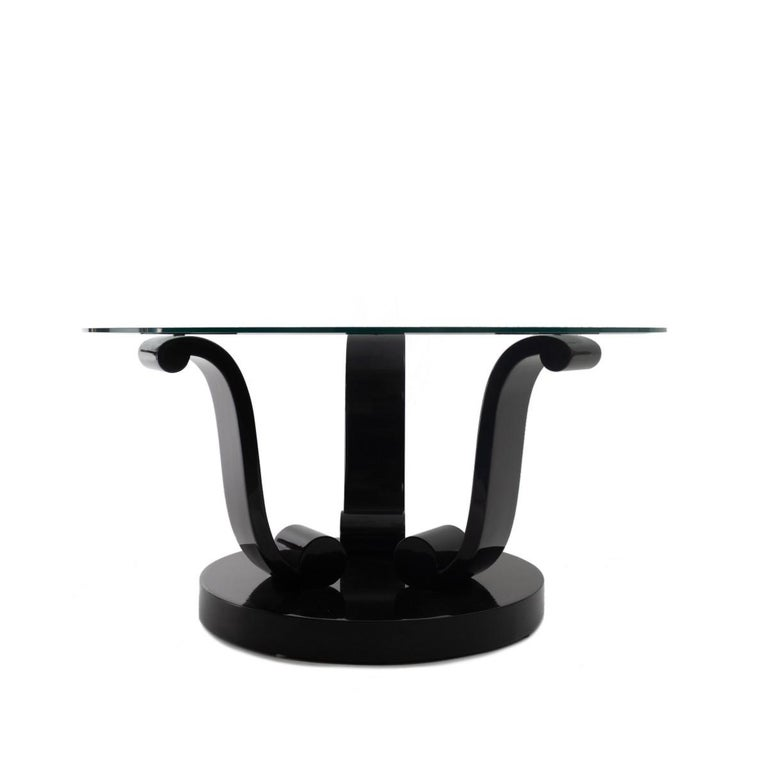 Art Deco Style Black Lacquer Base Coctail Table In Good Condition For Sale In New York, NY