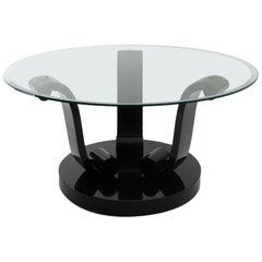 Art Deco Style Black Lacquer Base Coctail Table