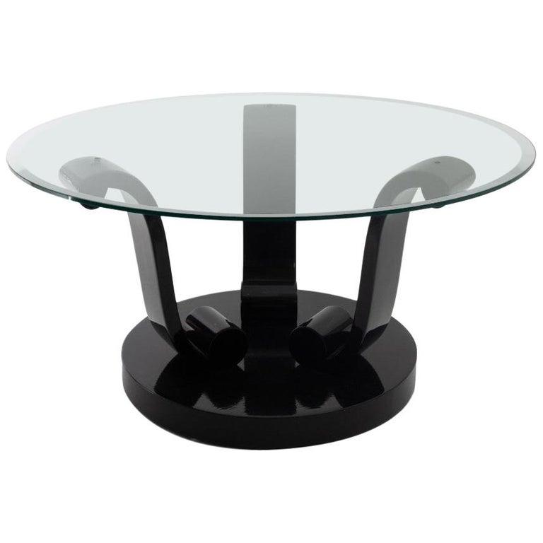 Art Deco Style Black Lacquer Base Coctail Table For Sale