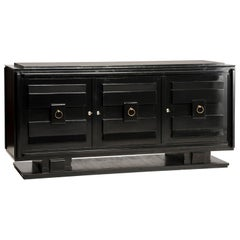 Art Deco Style Black Lacquered Crystal Top Three Doors Credenza