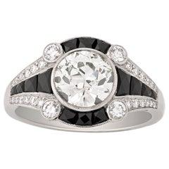 Art Deco Style Black Onyx and Round-Cut Diamond Ring