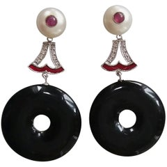 Art Deco Style Black Onyx Pearl Ruby Gold Enamel Diamonds Dangling Earrings