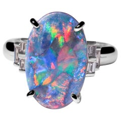 Art Deco Style Black Opal Diamond Platinum Ring Christmas Gift Engagement Ring