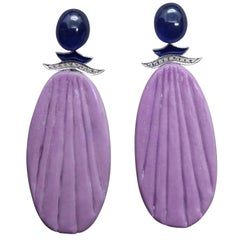 Art Deco Style Blue Sapphire Cabs Phosphosiderite Gold Diamond Enamel Earrings