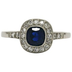 Art Deco Style Blue Sapphire Engagement Ring Diamond Halo Platinum Target