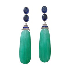 Art Deco Style Blue Sapphires Enamel Gold Diamonds Carved Jade Dangle Earrings