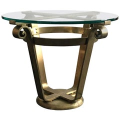 Art Deco Style Brass and Glass Side Table, 20th Century, European