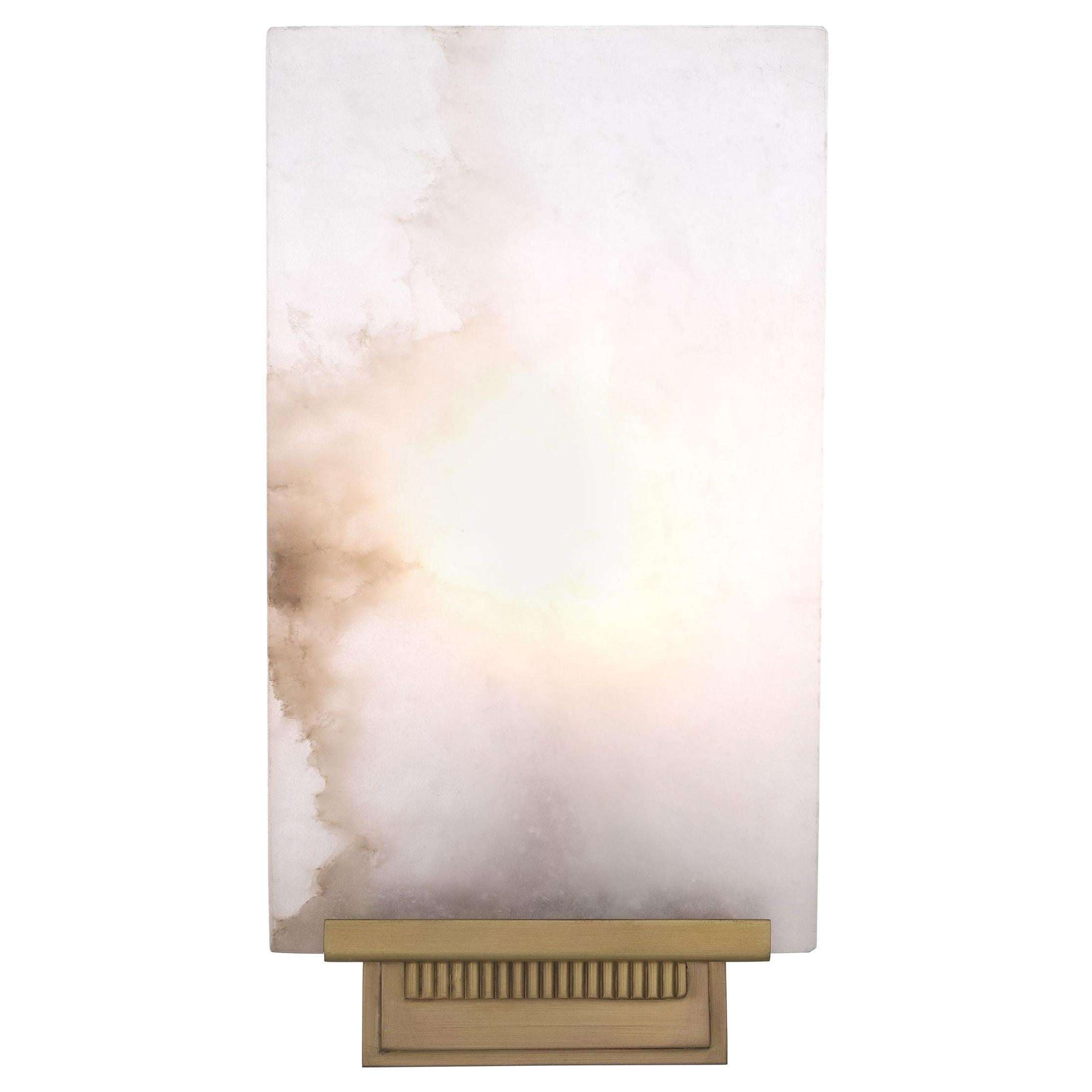 Art Deco Style Brass and White Alabaster Wall Light