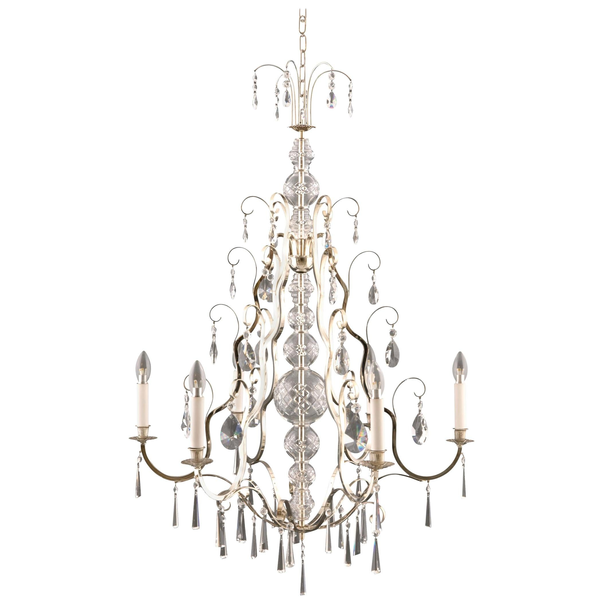 Art Deco Style Brass Crystal Glass Chandelier, Re Edition