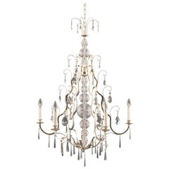 Art Deco Style Brass Crystal Glass Chandelier from the 1990s
