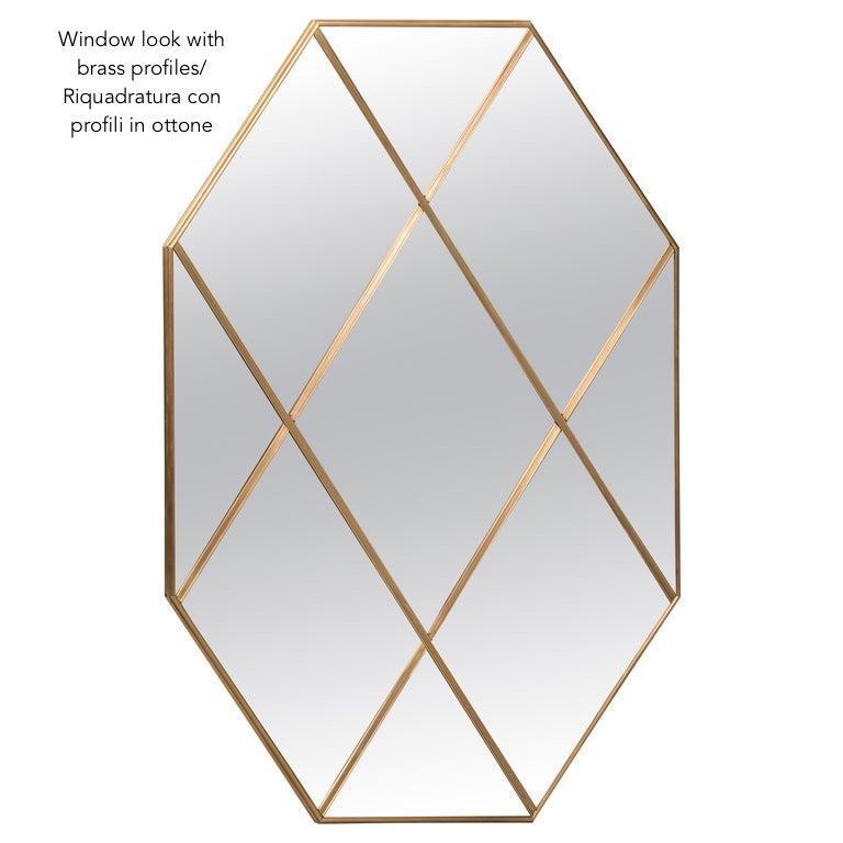 Art Deco Style Customizable Octagonal Brass Window Look Mirror  For Sale 5
