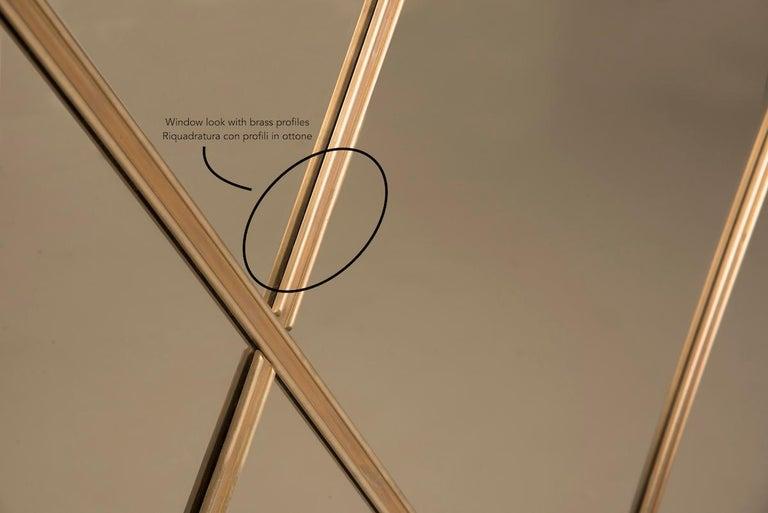 Art Deco Style Customizable Octagonal Brass Window Look Mirror  For Sale 6