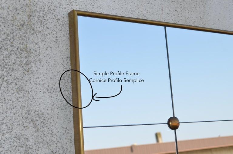 Art Deco Style Customizable Octagonal Brass Window Look Mirror  For Sale 11