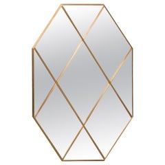 Art Deco Style Brass Frame and Divisors Mirror with Bronze Glass, Customizable