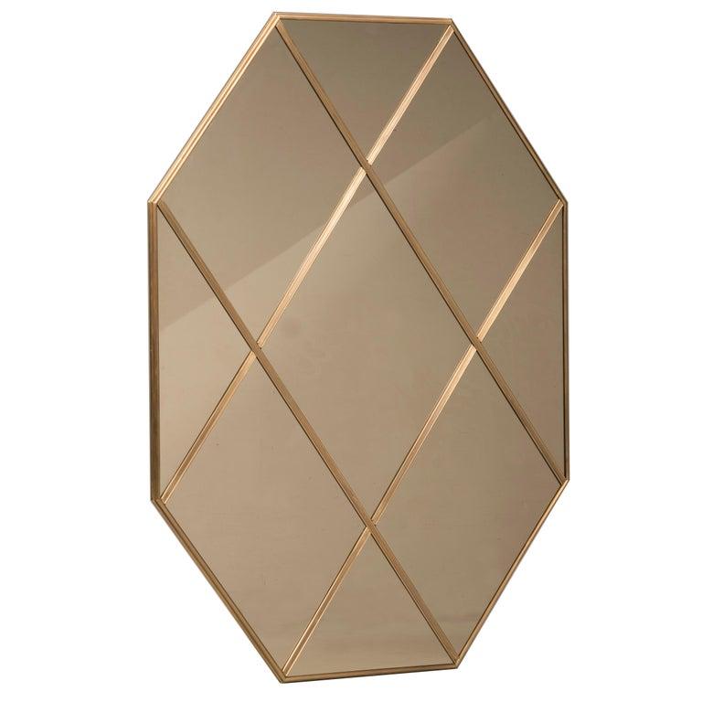 Art Deco Style Customizable Octagonal Brass Window Look Mirror  For Sale