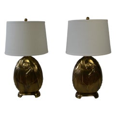 Art Deco Style Brass Table Lamps, Set of 2
