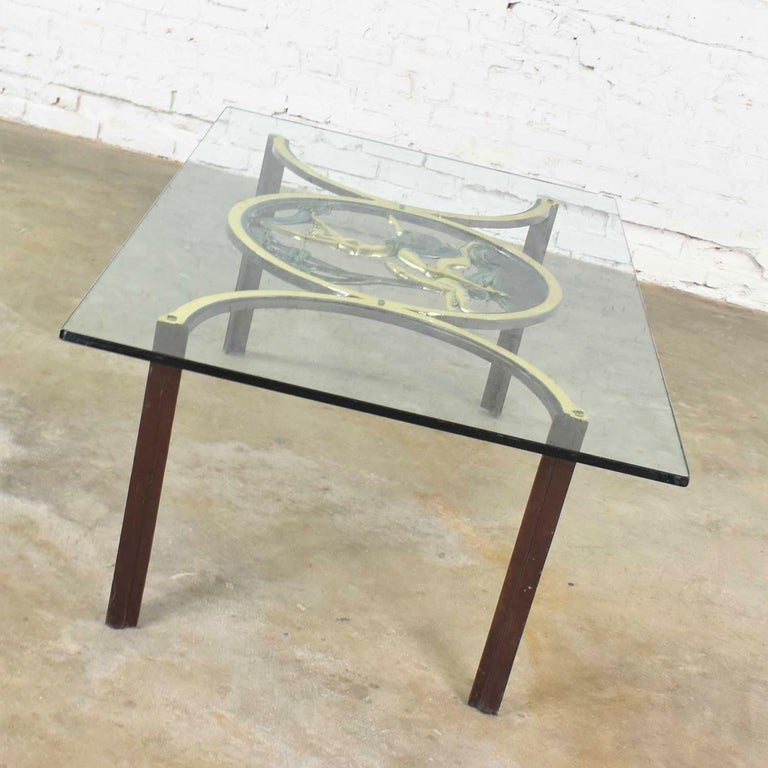 Art Deco Style Bronze Coffee Table with Diana the Huntress Medallion & Glass Top For Sale 4