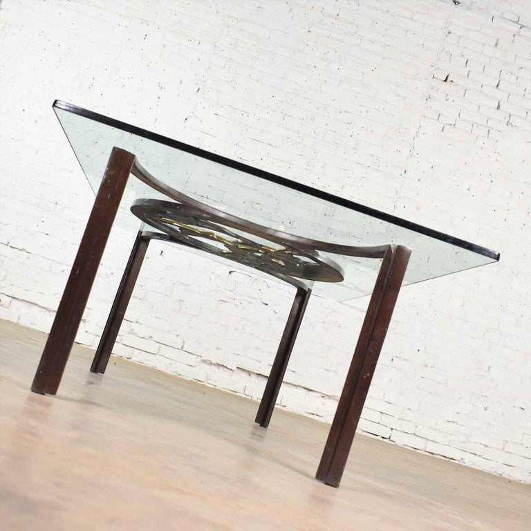 Art Deco Style Bronze Coffee Table with Diana the Huntress Medallion & Glass Top For Sale 5