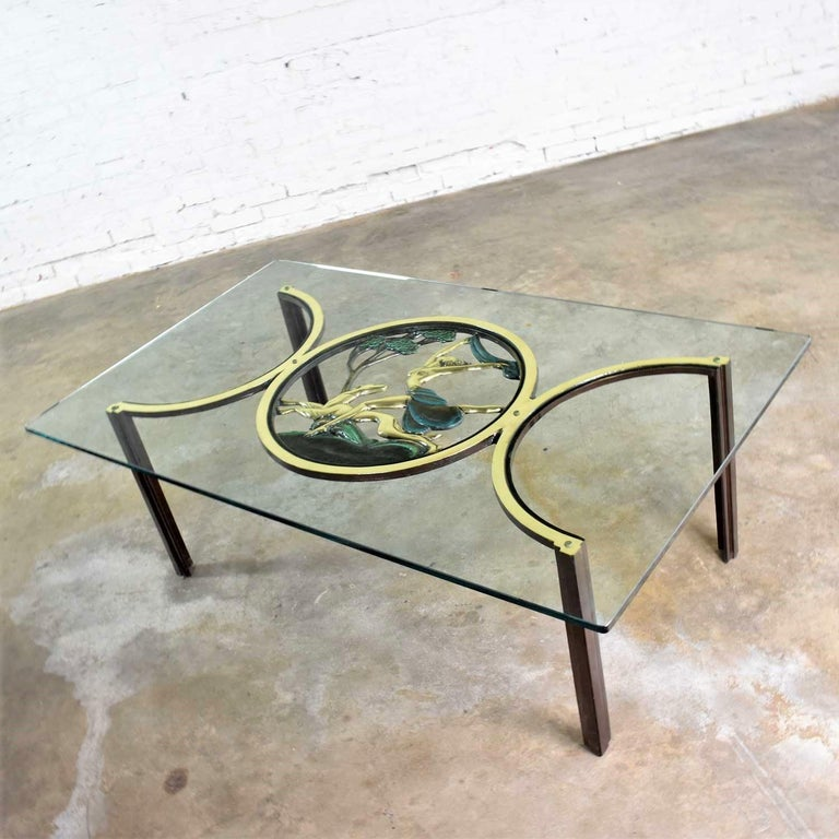 Art Deco Style Bronze Coffee Table with Diana the Huntress Medallion & Glass Top For Sale 6