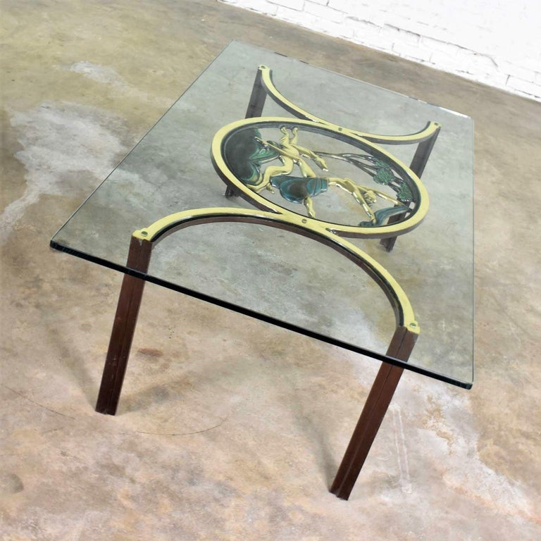 Art Deco Style Bronze Coffee Table with Diana the Huntress Medallion & Glass Top For Sale 7