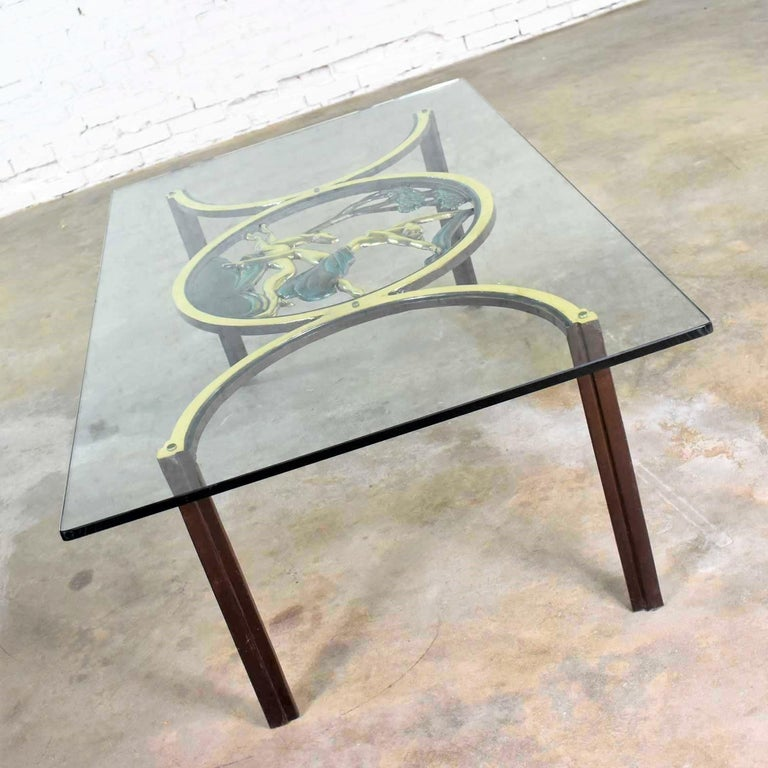 Art Deco Style Bronze Coffee Table with Diana the Huntress Medallion & Glass Top For Sale 8