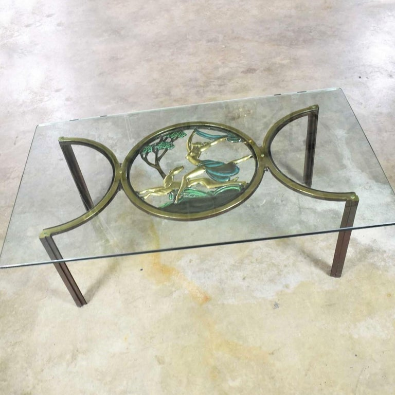 Art Deco Style Bronze Coffee Table with Diana the Huntress Medallion & Glass Top For Sale 9