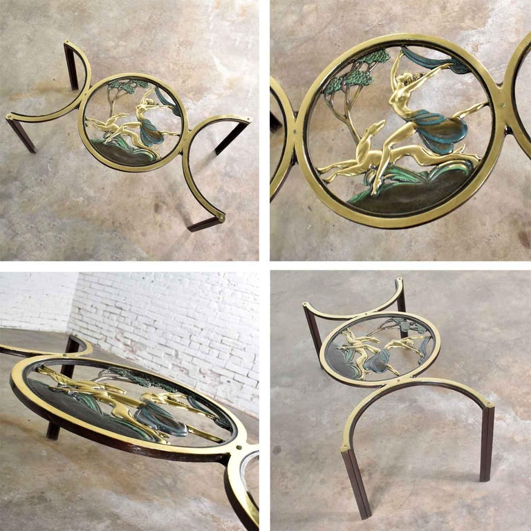 Art Deco Style Bronze Coffee Table with Diana the Huntress Medallion & Glass Top For Sale 12