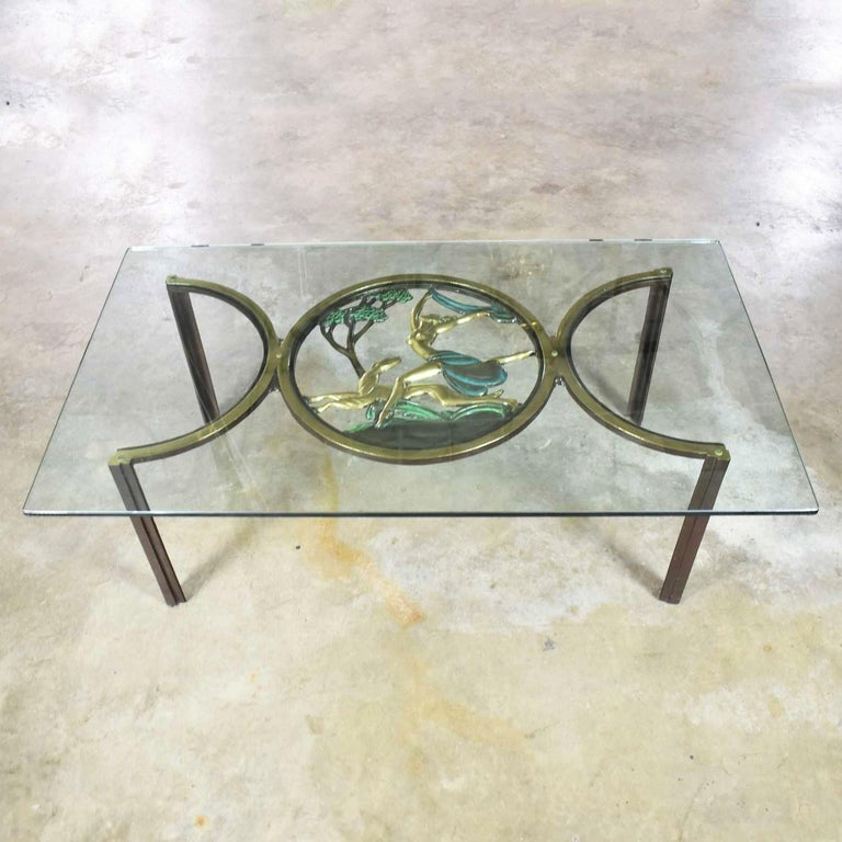 American Art Deco Style Bronze Coffee Table with Diana the Huntress Medallion & Glass Top For Sale