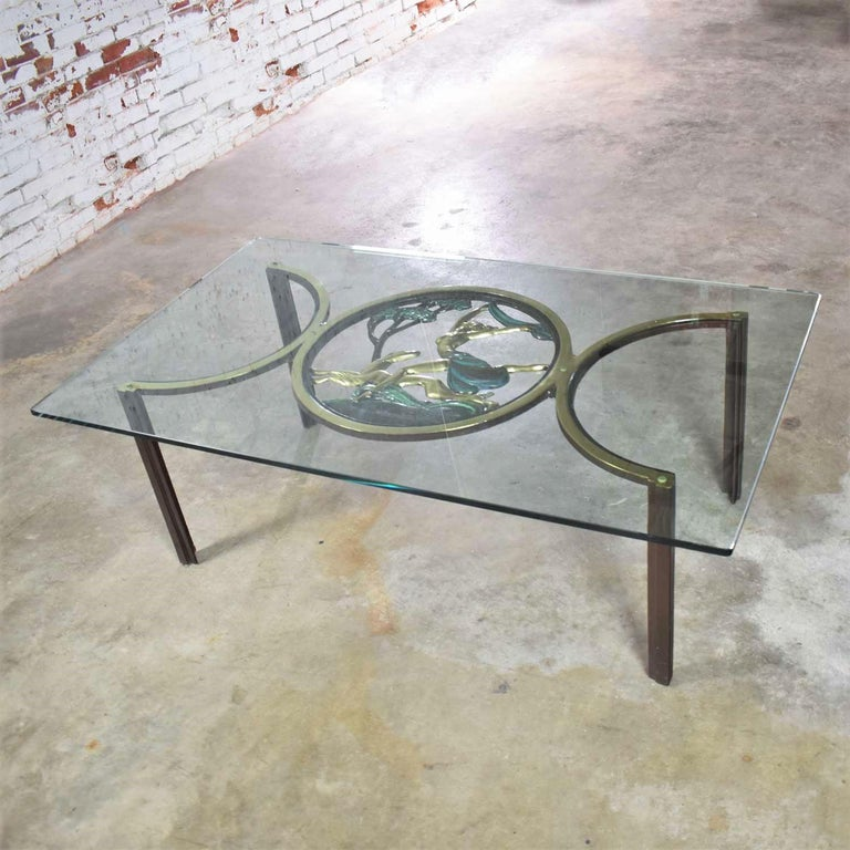 Cast Art Deco Style Bronze Coffee Table with Diana the Huntress Medallion & Glass Top For Sale