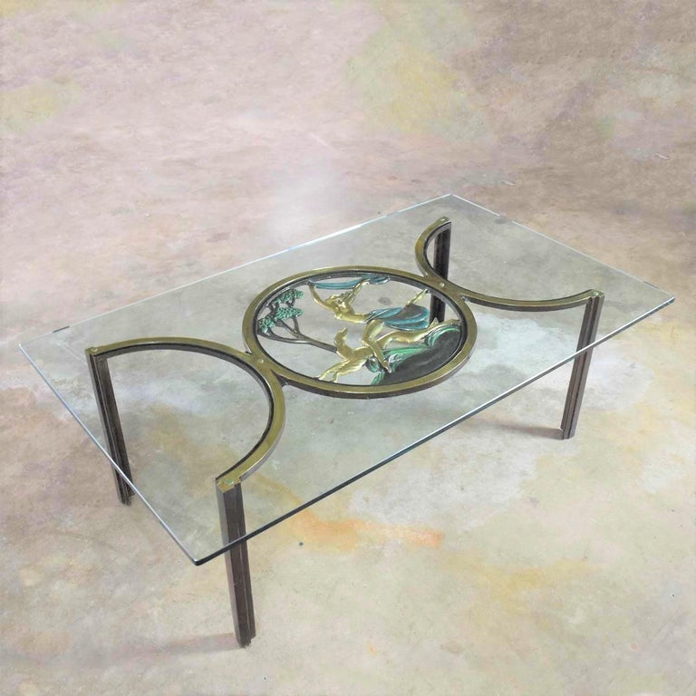 Art Deco Style Bronze Coffee Table with Diana the Huntress Medallion & Glass Top In Good Condition For Sale In Topeka, KS